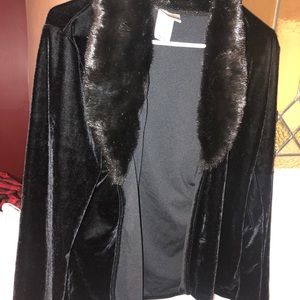 Velvety jacket with faux fur collar